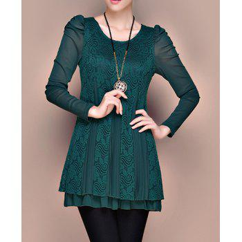 Stylish Women's Scoop Neck Long Sleeves Lace Splicing Pleated Dress