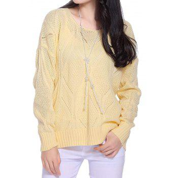 Stylish Scoop Neck Long Sleeve Hollow Out Solid Color Women's Sweater