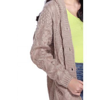 Hooded Cable Knit Button Up Cardigan - KHAKI ONE SIZE