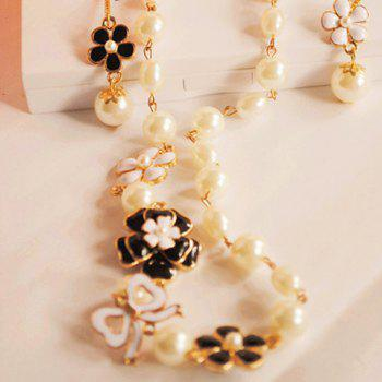 Fashion Chic Women's Rhinestone Faux Pearl Flower Sweater Chain Necklace - COLORMIX