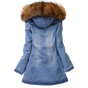 Denim Hooded Parka Coat   - BLUE BLUE