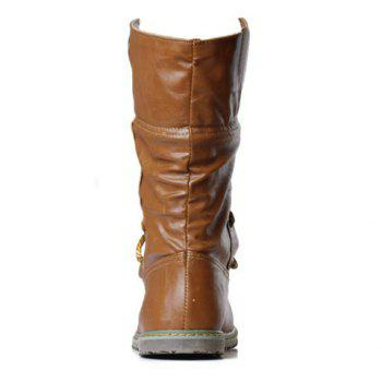 Lace Up Slouch Mid Calf Boots - YELLOW 38