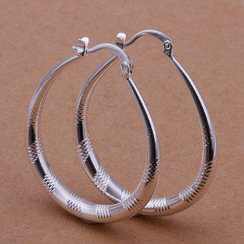 Engraved Alloy Statement Hoop Earrings -