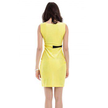 Simple Style Scoop Neck Sleeveless Color Block Packet Buttock Dress - YELLOW M