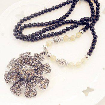 Stylish Chic Women's Rhinestone Inlaid Faux Pearl Link Sweater Chain Necklace - COLORMIX COLORMIX