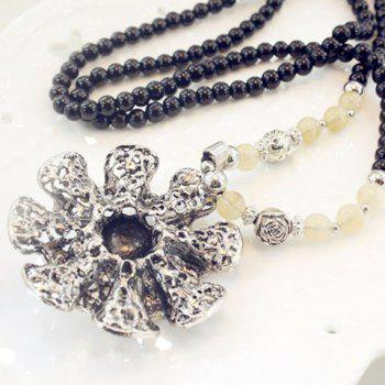 Stylish Chic Women's Rhinestone Inlaid Faux Pearl Link Sweater Chain Necklace - COLORMIX