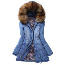 Denim Hooded Parka Coat