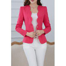 Simple Design V-Neck Solid Color Long Sleeve Blazer For Women
