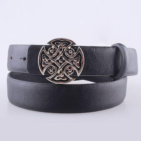 Fashion Women's Carved Button Imitation Leather Belt