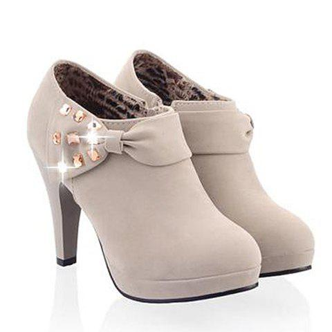 Elegant Bow and Rhinestones Design Ankle Boots For Women - GRAY 39