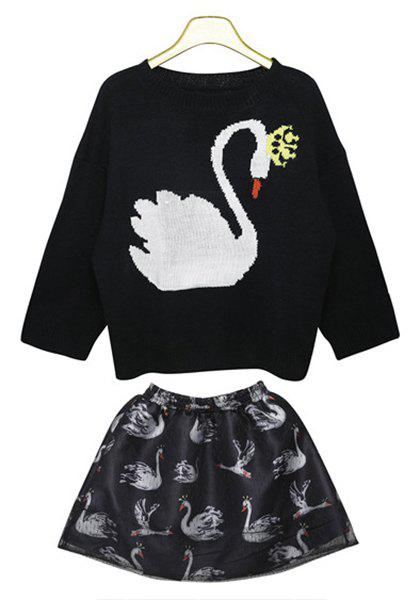 Cute Round Neck Duck Pattern 3/4 Sleeve Sweater and Elastic Waist Skirt Twinset For Women - BLACK M
