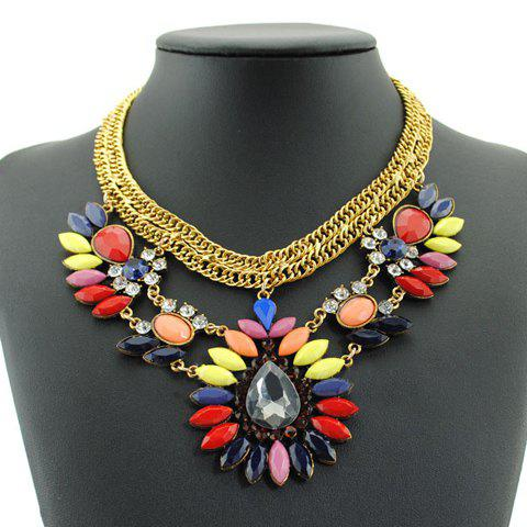 Gorgeous Women's Faux Gemstone Decorated Drop Necklace