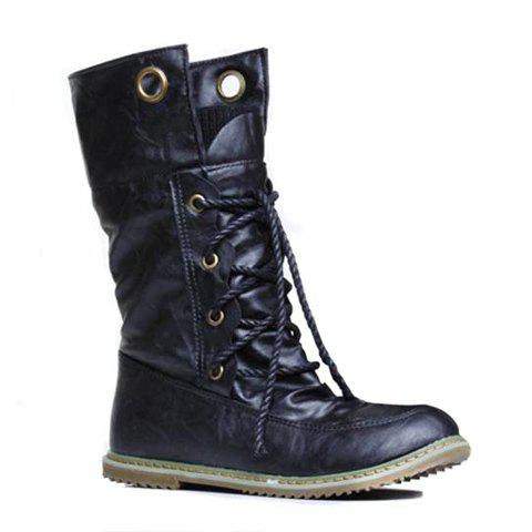 Lace Up Slouch Mid Calf Boots - BLACK 42