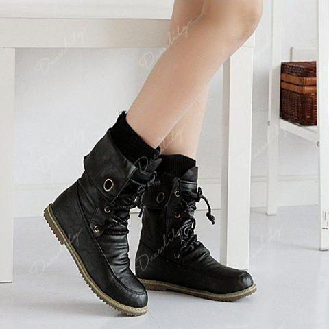 Lace Up Slouch Mid Calf Boots - BLACK 40