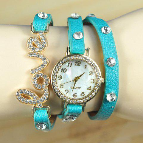Dolce Rhinestone Embellished Letter Love Women's Bracelet Watch - COLOR ASSORTED