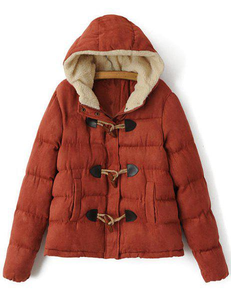 Casual Candy Color Hooded Thicken Long Sleeve Coat For Women - RED L