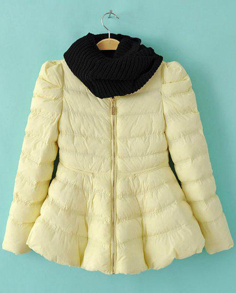 Cute Pure Color Round Collar Long Sleeve Coat with Neckerchief For Women - YELLOW L
