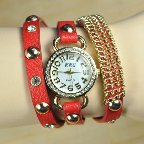 Retro Style Rivet Embellished Bracelet Watch For Women - COLOR ASSORTED