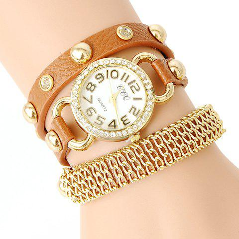 Punk Style Rivet Embellished Bracelet Watch For Women - COLOR ASSORTED