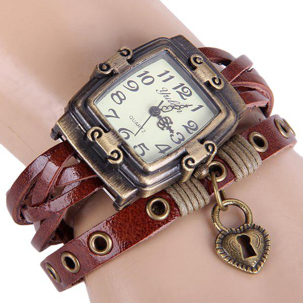 Yulan Female Vintage Style Quartz Watch Rectangle Dial Leather Wristband - BROWN