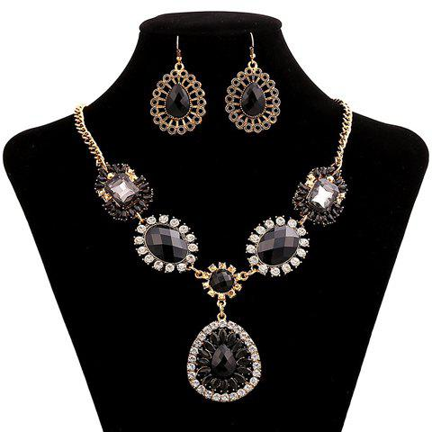 A Set of Faux Gem Teardrop Pendant Necklace and Earrings - AS THE PICTURE