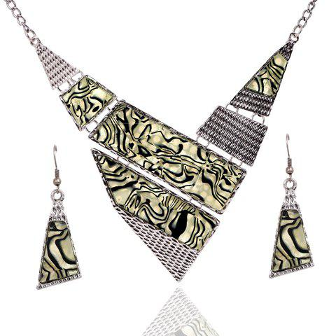 A Set of Chic Retro Women's Irregular Triangle Necklace And Earrings - AS THE PICTURE
