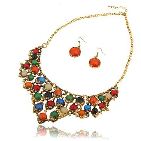Stylish Secondary Color Faux Gem Embellished Women's Necklace and A Pair of Earrings - RANDOM COLOR