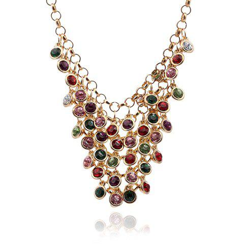 Chic Secondary Color Faux Gem Embellished Necklace For Women