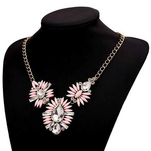 Cute Sweet Women's Faux Gem Flower Pendant Necklace - AS THE PICTURE