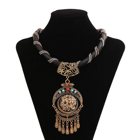 Retro Ethnic Women's Beads Tassel Necklace - AS THE PICTURE