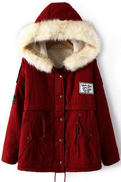 Faux Fur Splicing Long Sleeve Hooded Drawstring Casual Style Women's Coat - RED L