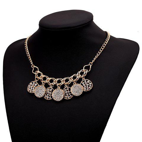 Rhinestone Openwork Round Necklace - AS THE PICTURE