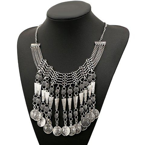 Retro Style Solid Color Round Shape Pendant Embellished Women's Necklace - SILVER