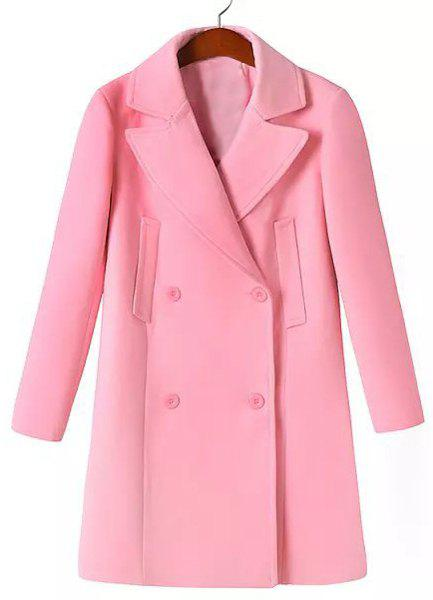 Solid Color Worsted Long Sleeve Lapel Neck Double-Breasted Simple Style Women's Coat - PINK S