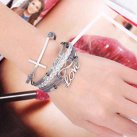 Retro Women's Layered Chain Letter Decorated Bracelet