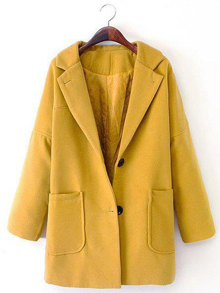 Solid Color Lapel Neck Long Sleeve Single-Breasted Pockets Stylish Women's Coat - YELLOW 3XL