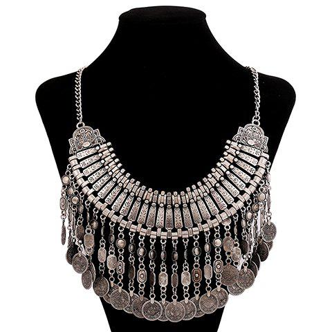 Fashion Retro Women's Coin Tassel Pendant Necklace - SILVER