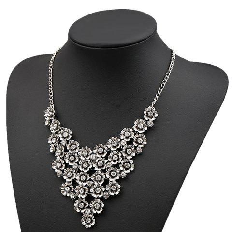 Sophisticated Solid Color Flower Shape Necklace For Women - SILVER