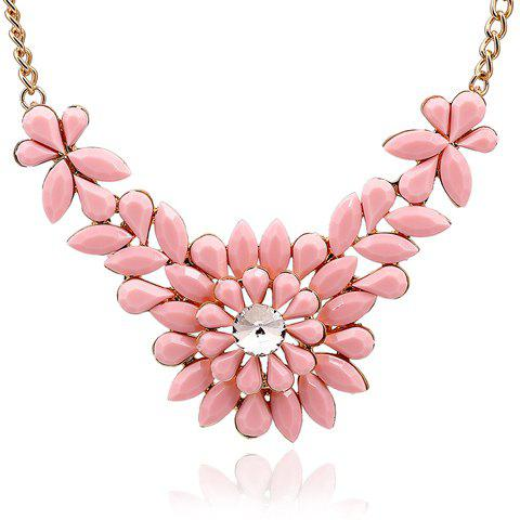 Sophisticated Solid Color Faux Gem Embellished Flower Shape Women's Necklace - Rose Pâle
