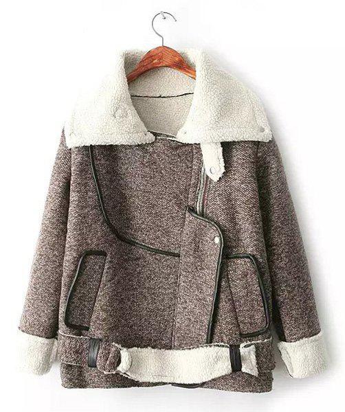Stylish PU Leather Splicing Faux Wool Turn-Down Collar Long Sleeve Coat For Women