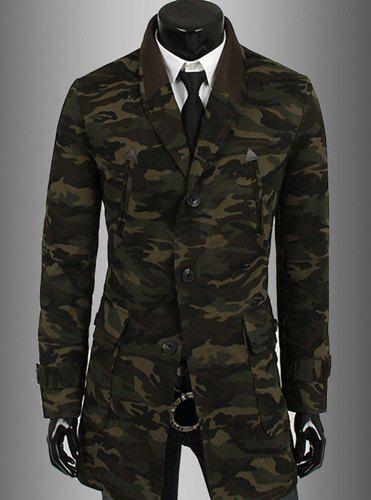 Camouflage Style Turn-down Collar Multi-Pocket Slimming PU Leather Embellished Long Sleeves Men's Blazer - CAMOUFLAGE M