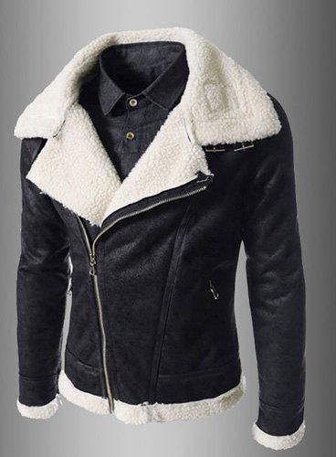 Modern Style Fur Collar Slimming Inclined Zipper Fly Solid Color Long Sleeves Men's PU Leather Coat - BLACK L