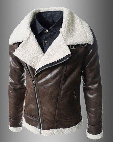 Modern Style Fur Collar Slimming Inclined Zipper Fly Solid Color Long Sleeves Men's PU Leather Coat - BROWN 2XL