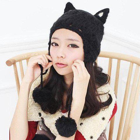 Cute Yarn Ball Pendant and Cat Ear Decorated Women's Knitted Hat - COLOR ASSORTED