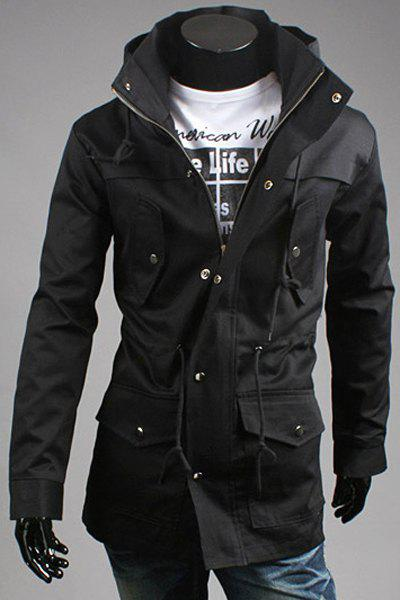 Personality Turn-down Collar Multi-Pocket Slimming Belt Design Long Sleeves Men's Coat