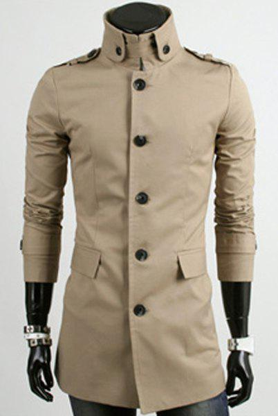 Laconic Solid Color Personality Stand Collar Slimming Button Embellished Long Sleeves Men's Trench Coat - KHAKI L
