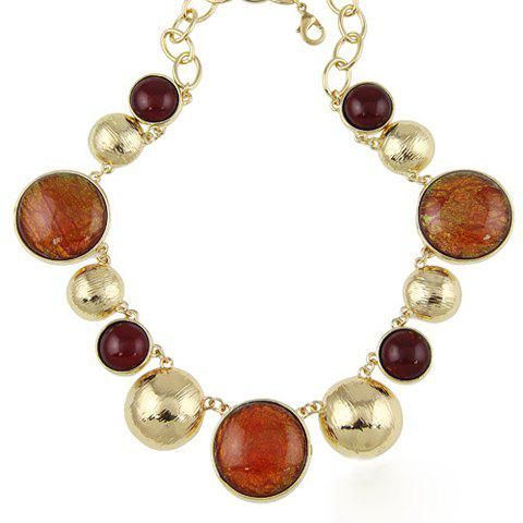 Sweet Fashion Women's Faux Gem Round Shape Necklace - BROWN