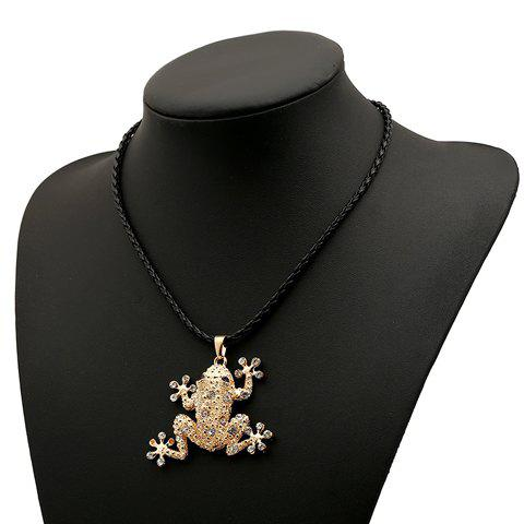 Dazzling Rhinestone Embellished Frog Shape Pendant Women's Necklace - AS THE PICTURE