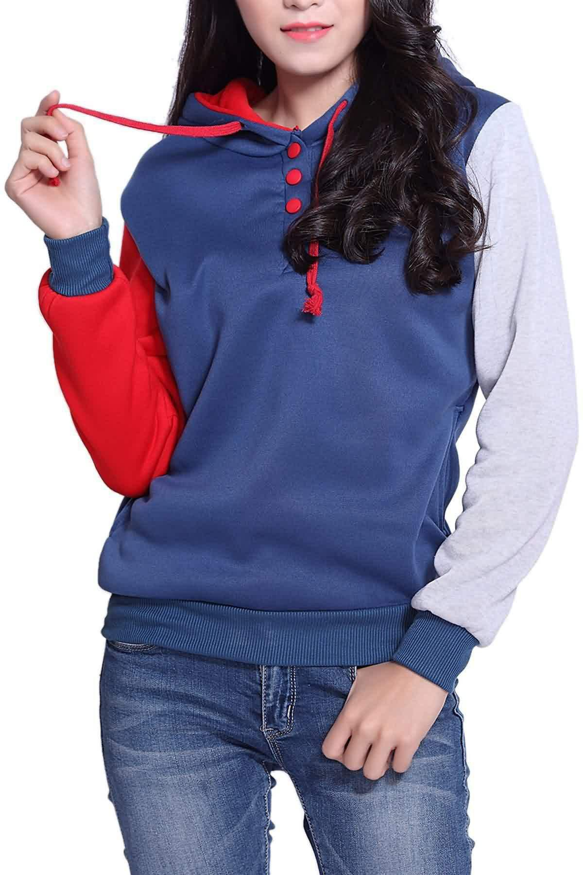 Side Pockets Design Color Block Long Sleeve Hooded Loose Sweatshirt - RED L