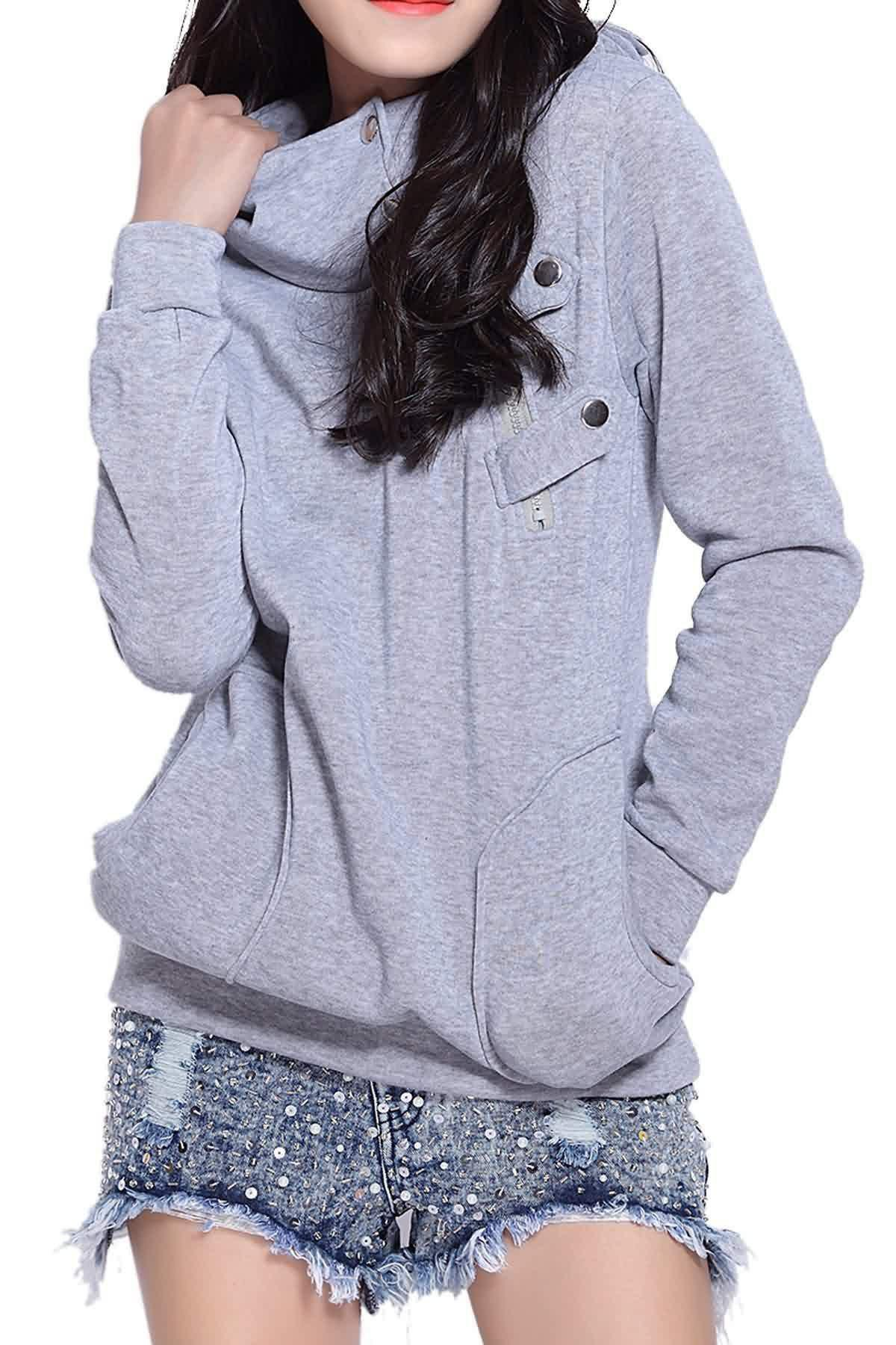 Casual Side Pockets Design Long Sleeve Solid Color Loose Hoodie